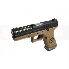 Armorer Works Hex Cut Signature G17 GBB Pistol ( BK/ TAN )